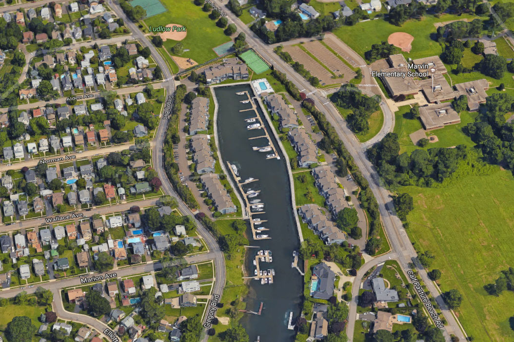 An aerial view of the Charles Cove boardwalk where our bulkhead repair project took place