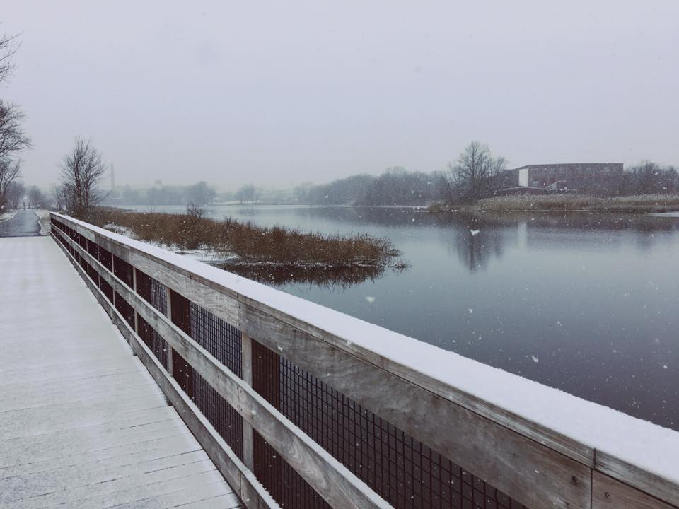 Quequechan River Boardwalk in Winter